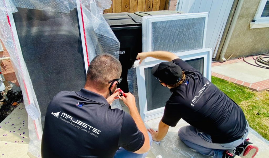Majestec security screen doors and windows installation specialists on the job - Redondo Beach, CA