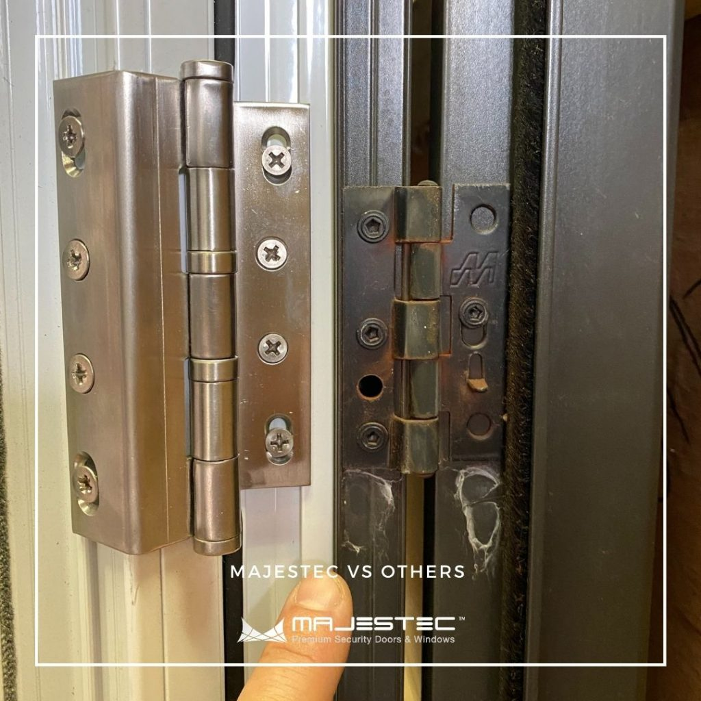 Security hinges for heavy duty Security screen doors - Majestec, SoCal